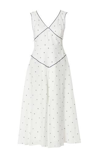 Medium gul hurgel print sleeveless polka print contrast pipping midi dress