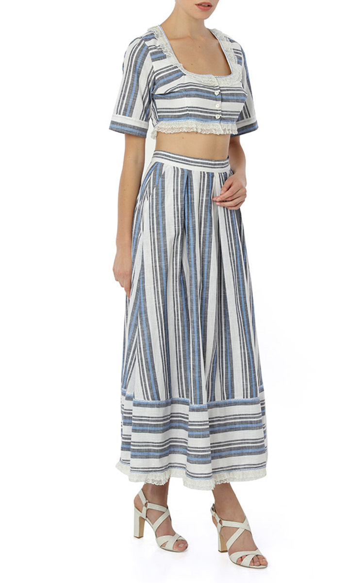 pleated striped midi a line skirt by g 252 l h 252 rgel moda