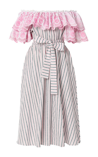 Medium gul hurgel stripe floral embroidered off the shoulder midi dress 2