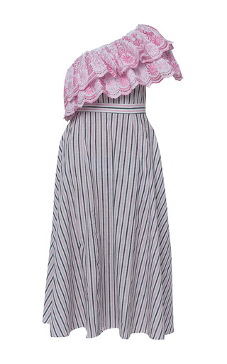 Medium gul hurgel stripe floral embroidered one shoulder striped dress 2