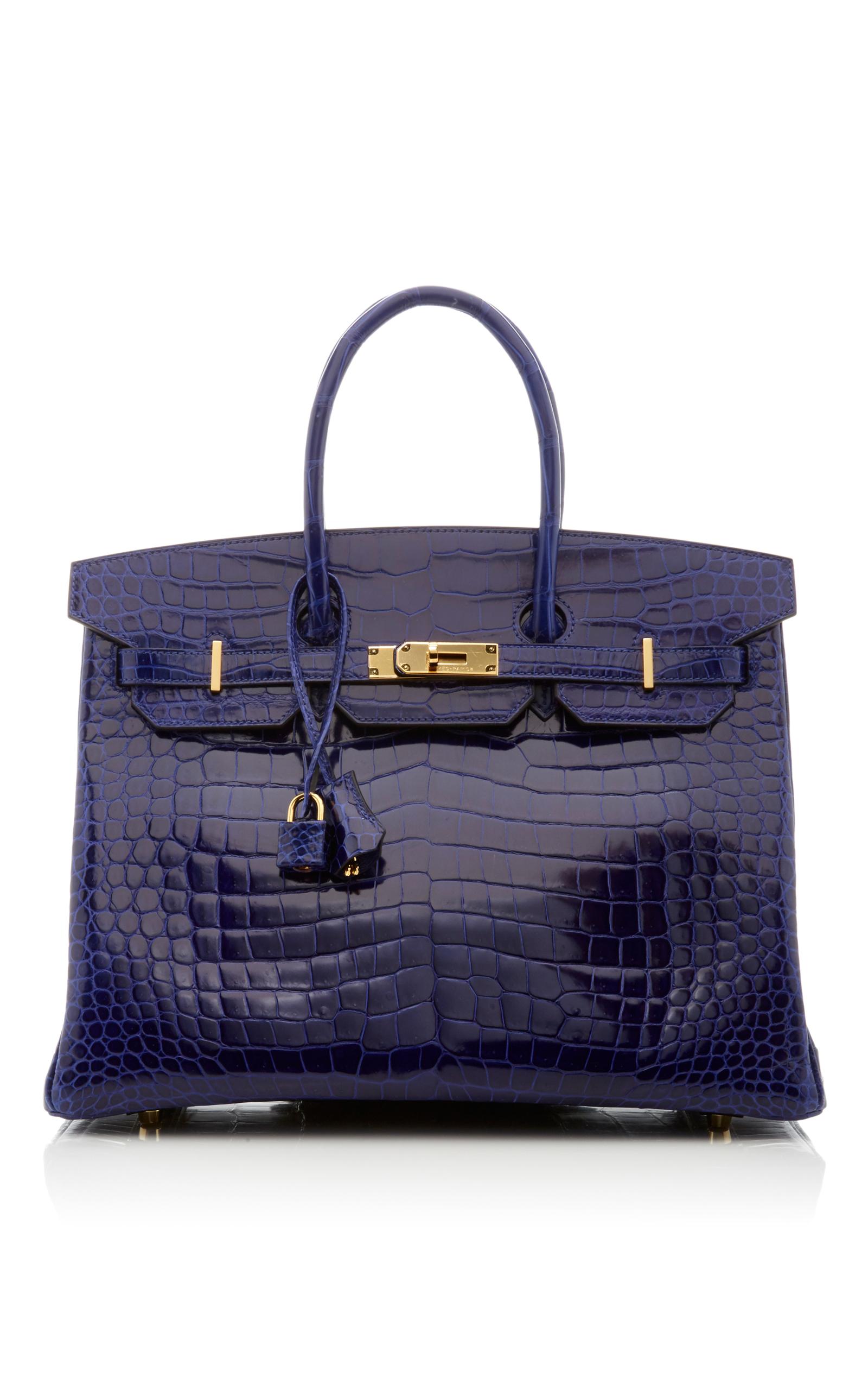 9236921674e Hermes VintageHermes 35cm Blue Electric Shiny Porosus Crocodile Birkin.  CLOSE. Loading