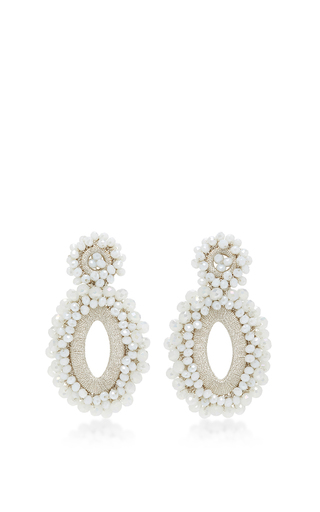 Medium bibi marini white m o exclusive beaded drop earrings 6
