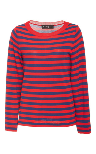 Medium rossella jardini red striped classic fit sweater