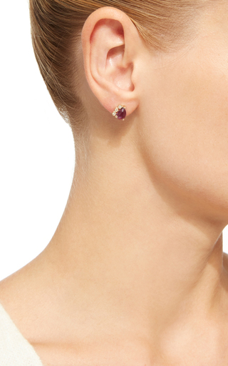 Amethyst And Diamond Stud by JACQUIE AICHE Now Available on Moda Operandi