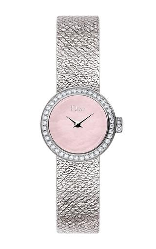 Medium dior timepieces pink la mini d de dior satine watch