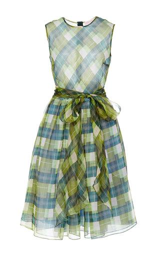 Medium dice kayek multi sleeveless plaid silk dress