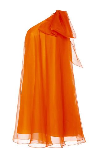 Medium dice kayek orange oversized one shoulder silk bow dress