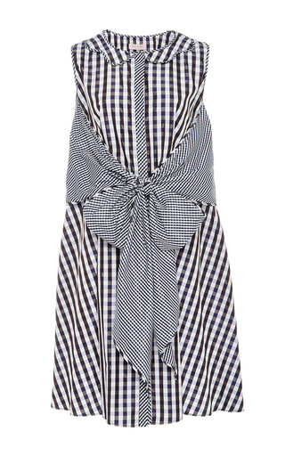 Medium dice kayek multi dual gingham sleeveless dress