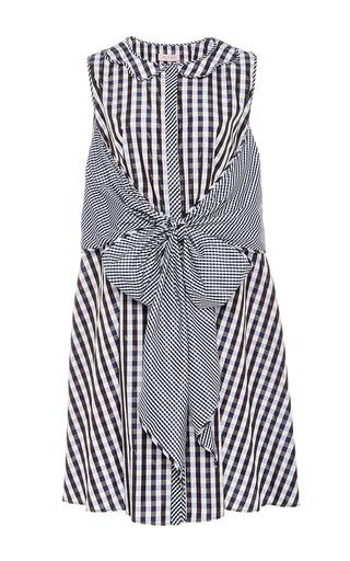 Medium dice kayek multi dual gingham sleeveless dress