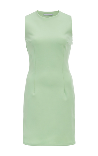 Medium christina economou green sleeveless seamed mini dress