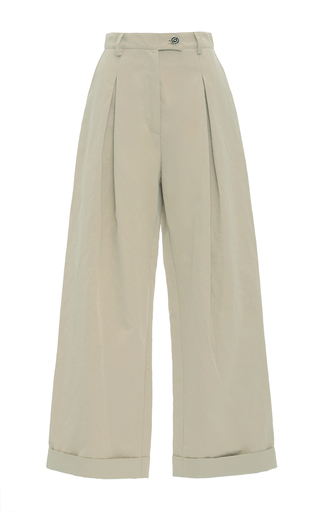 Medium christina economou khaki safari cropped wide leg pants