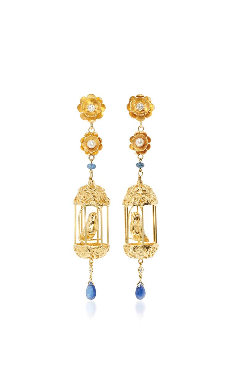 OF RARE ORIGIN M'O Exclusive Gold Aviary Classic Earrings