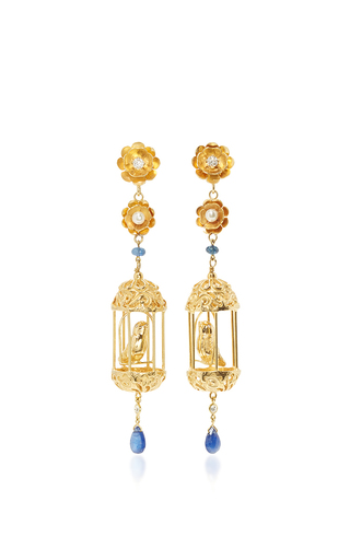 Medium of rare origin gold gold aviary classic earrings