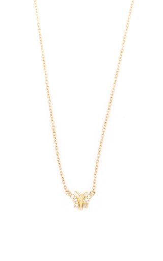 Medium jacquie aiche gold pave diamond mini butterfly necklace