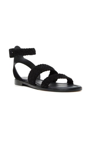 Medium paul andrew black alma woven flat sandals