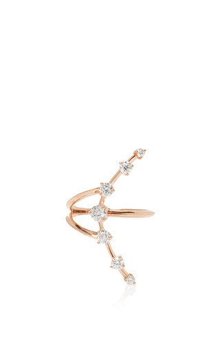 Medium jade trau rose gold crescent ring