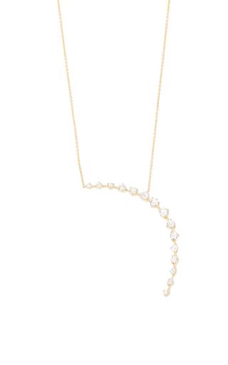 Medium jade trau gold crescent pendant necklace
