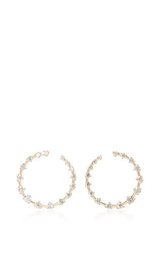 Medium jade trau gold crescent hoop earrings