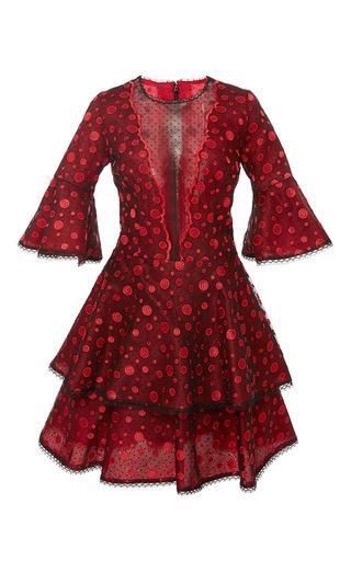 Medium costarellos red embroidered lace flared mini dress