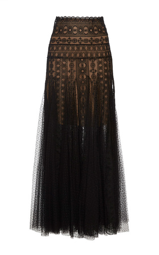 Medium costarellos black floral lace dot tulle skirt