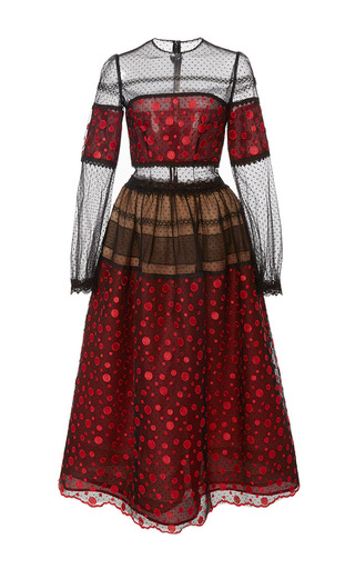 Medium costarellos red dot tulle embroidered lace a line dress