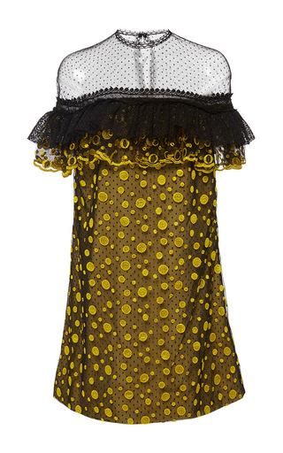 Medium costarellos yellow dot tulle embroidered shift dress