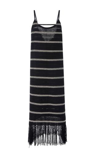 Medium jaline stripe annie handwoven fringe dress