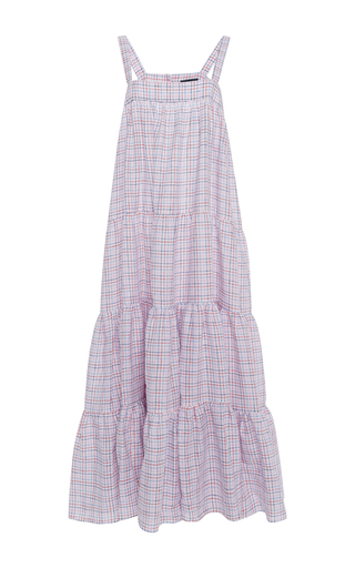 Medium mds stripes plaid wyatt tiered cami dress 2