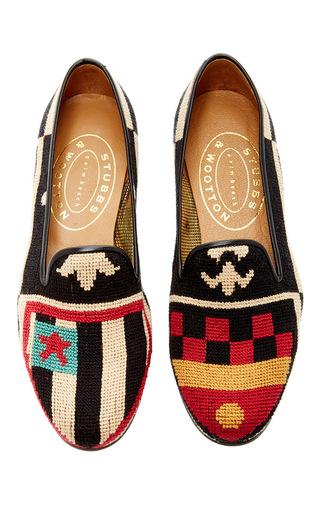 Medium stubbs wootton multi crest color needlepoint slipper