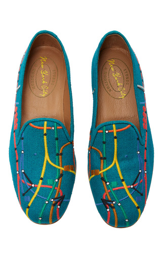 Medium stubbs wootton blue nyc capsule collection peacock subway lines slipper