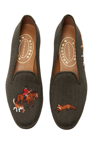 Medium stubbs wootton brown fox hunting brown slipper
