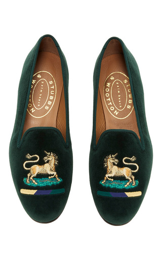 Medium stubbs wootton green unicorn hunter green slipper