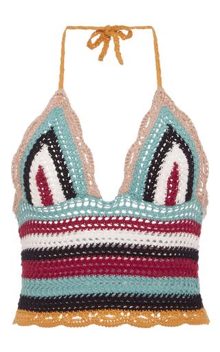 Medium red valentino multi crochet knit halter top