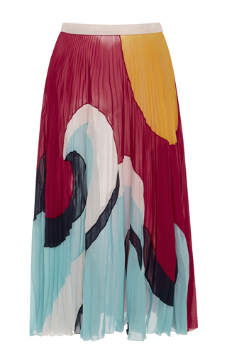 Medium red valentino multi wave print plisse skirt