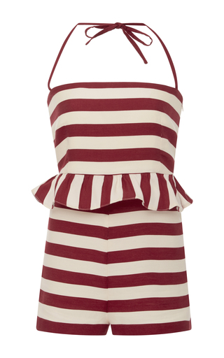 Medium red valentino stripe striped ruffle romper