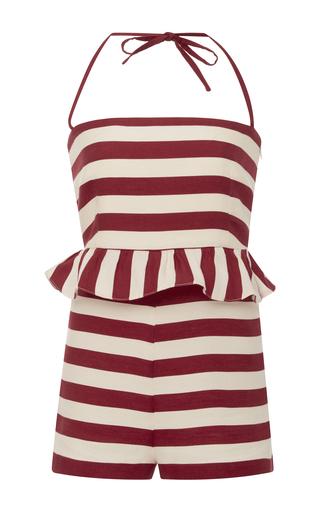 Medium red valentino stripe striped ruffle romper