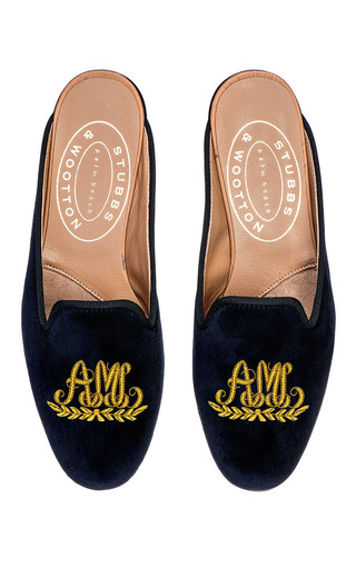 Medium stubbs wootton black script gold wreath m onogrammed hand embroidered mule