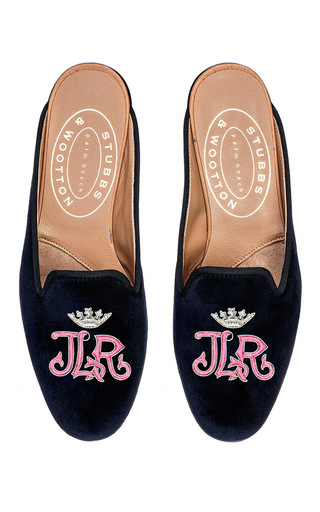 Medium stubbs wootton navy gothic pink crown m onogrammed hand embroidered mule