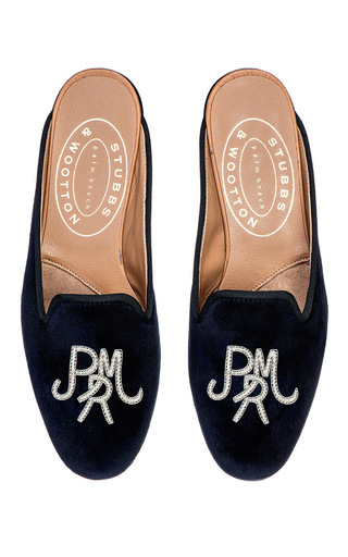 Medium stubbs wootton navy block silver m onogrammed hand embroidered mule