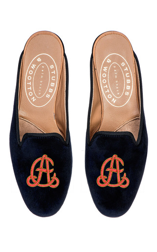 Medium stubbs wootton navy twine red m onogrammed hand embroidered mule