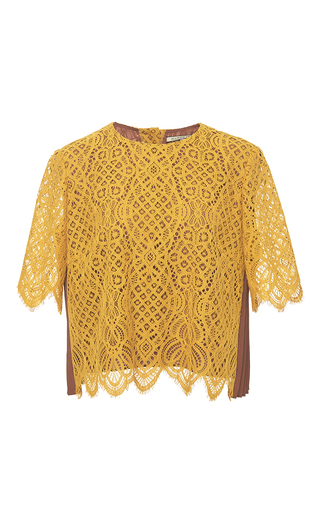 Medium maison pere orange cropped sunset lace contrast top