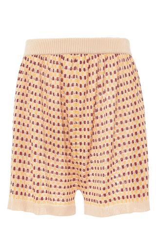 Medium maison pere print cognac high waist knit shorts