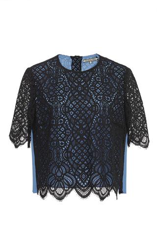 Medium maison pere black cropped lace contrast top
