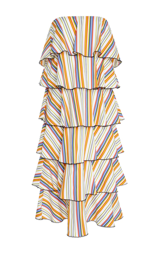 Medium caroline constas stripe tiered striped cotton dress