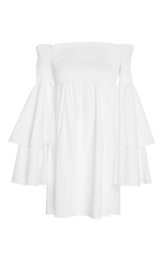 Medium caroline constas white margi cotton blend mini dress