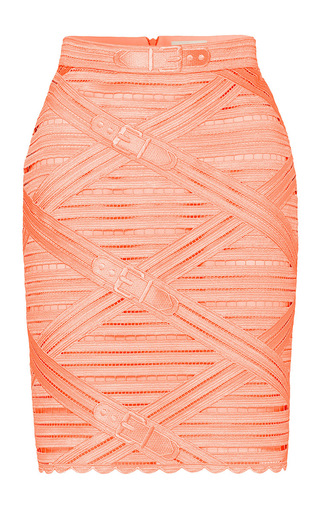 Medium marina hoermanseder orange strap lace pencil skirt
