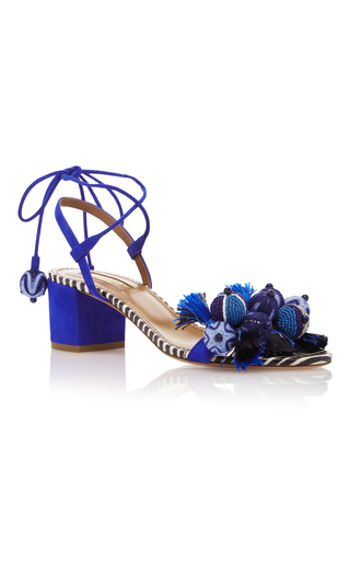 Medium aquazzura blue tropicana appliqued suede sandals