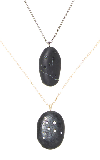 Medium cvc stones black cygnus his and hers necklace set
