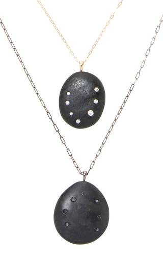 Medium cvc stones black corona borealis his and hers necklace set