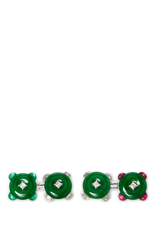 Medium simon teakle green jade cufflinks